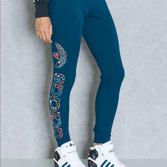 86c25d4928c adidas Pants | Originals Linear Blue Floral Legging | Poshmark